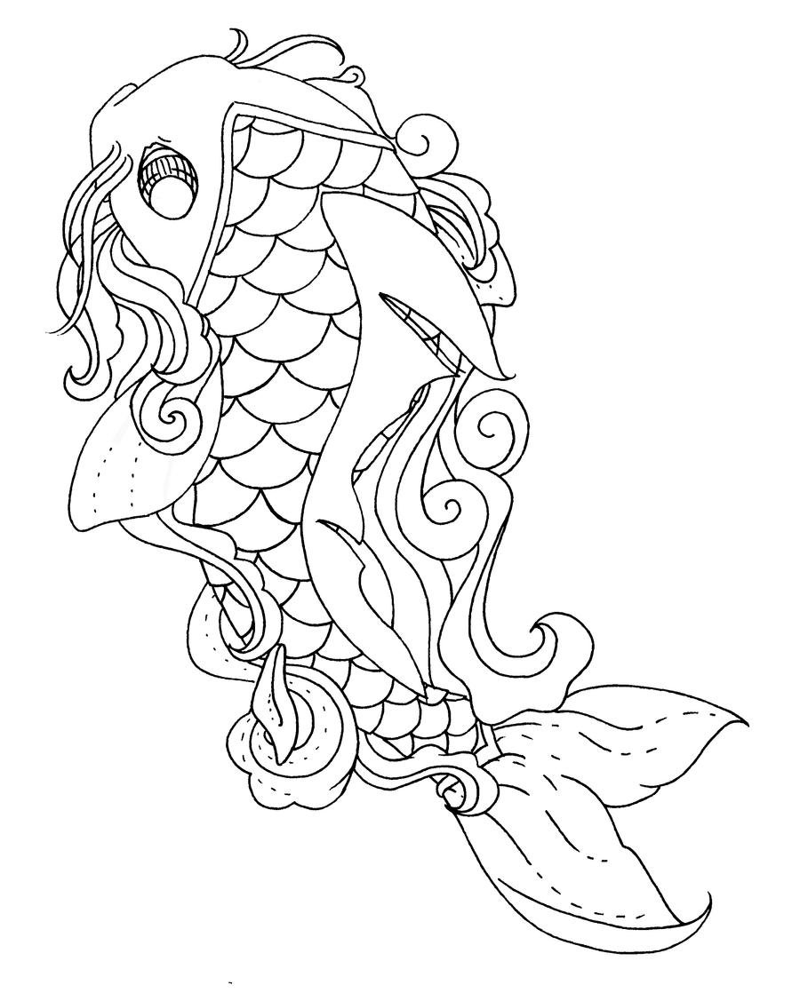 Line Drawing Koi Fish : Koi fish lineart by pick your poison on deviantart