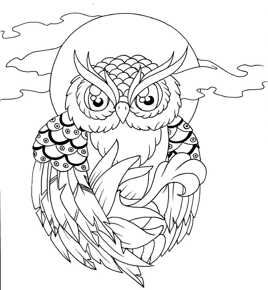 Owl Line Drawing Tattoo : Owl lineart  by pick your poison on deviantart