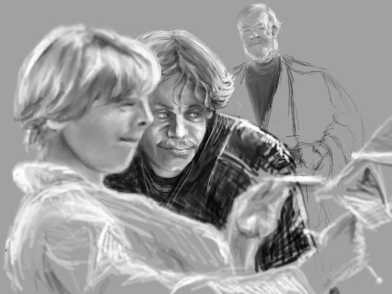 Luke, Anakin and Obi-Wan WIP by ShrunkenJedi