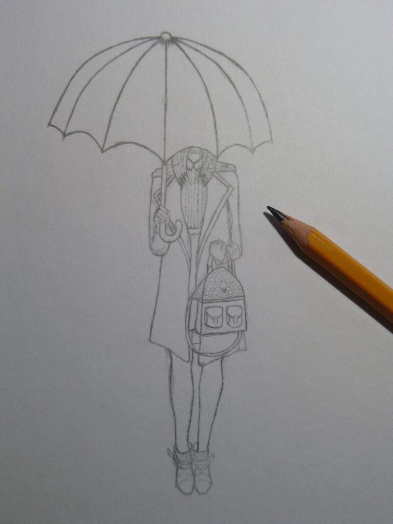 Tiny tainy drawing of girl with umbrella by vevusss