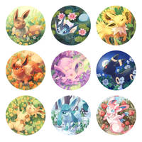 Floral Eeveelution Buttons by RileyKitty