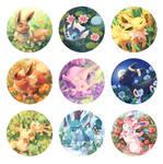 Floral Eeveelution Buttons
