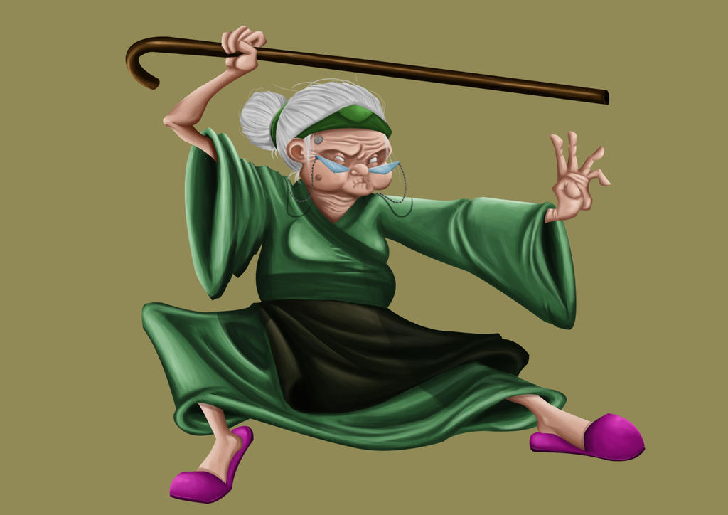 Old asian lady cartoon