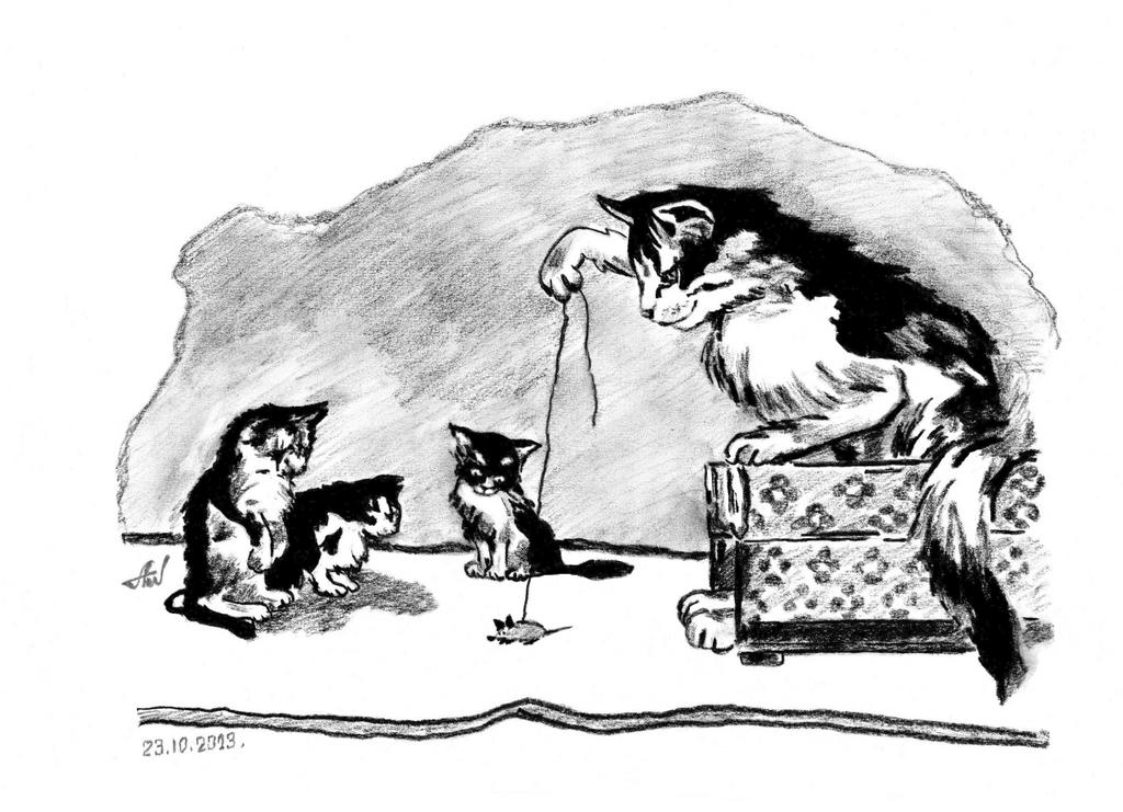 Lesson) for kittens. by Alik-Volga