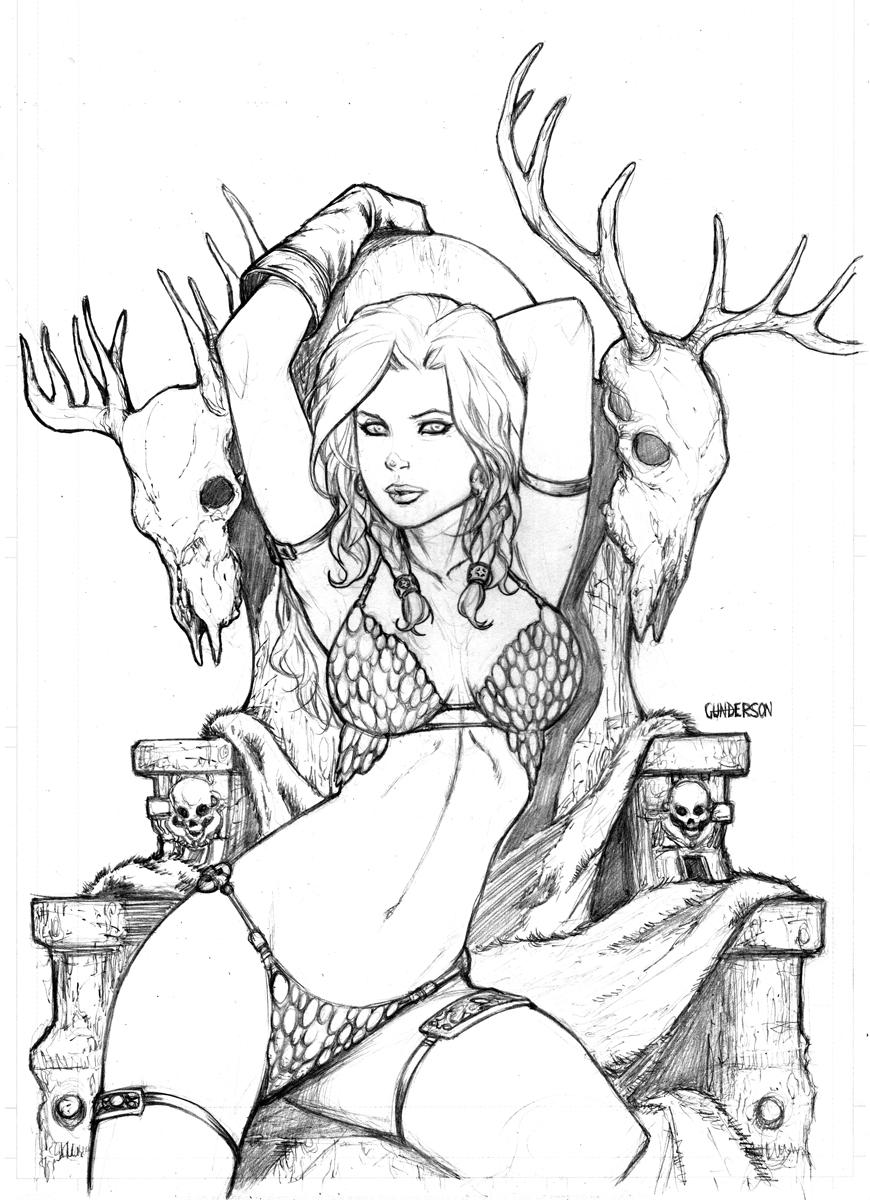Red Sonja Heartbreakers sketchbook by Arciah