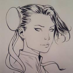 Chun Li head sketch by Arciah