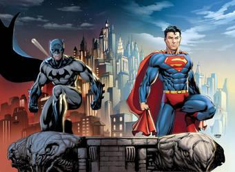 Batman Superman rooftop colors by Arciah