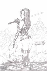 Psylocke pencil sketch by Arciah
