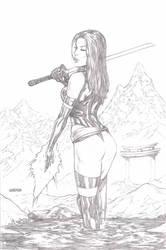 Psylocke pencil sketch