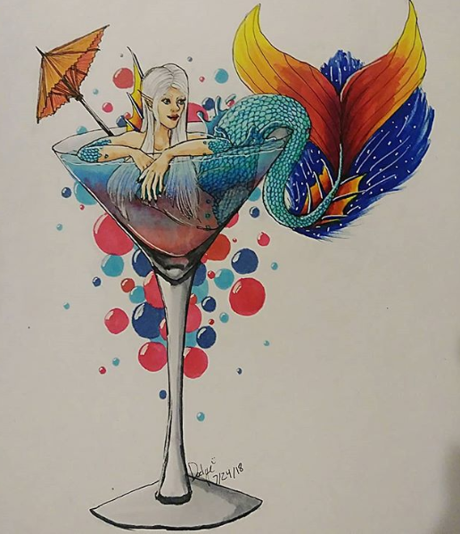 Example of a Finished Cocktail YCH by Dodgesmiley