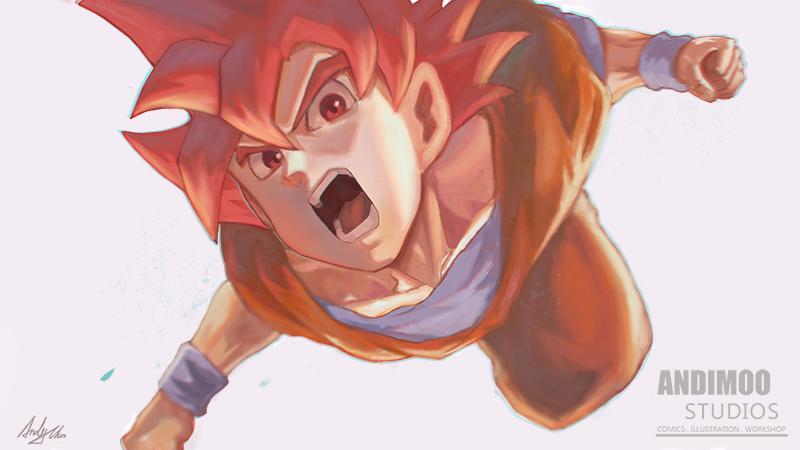 Super Saiyan God Goku by AndiMoo
