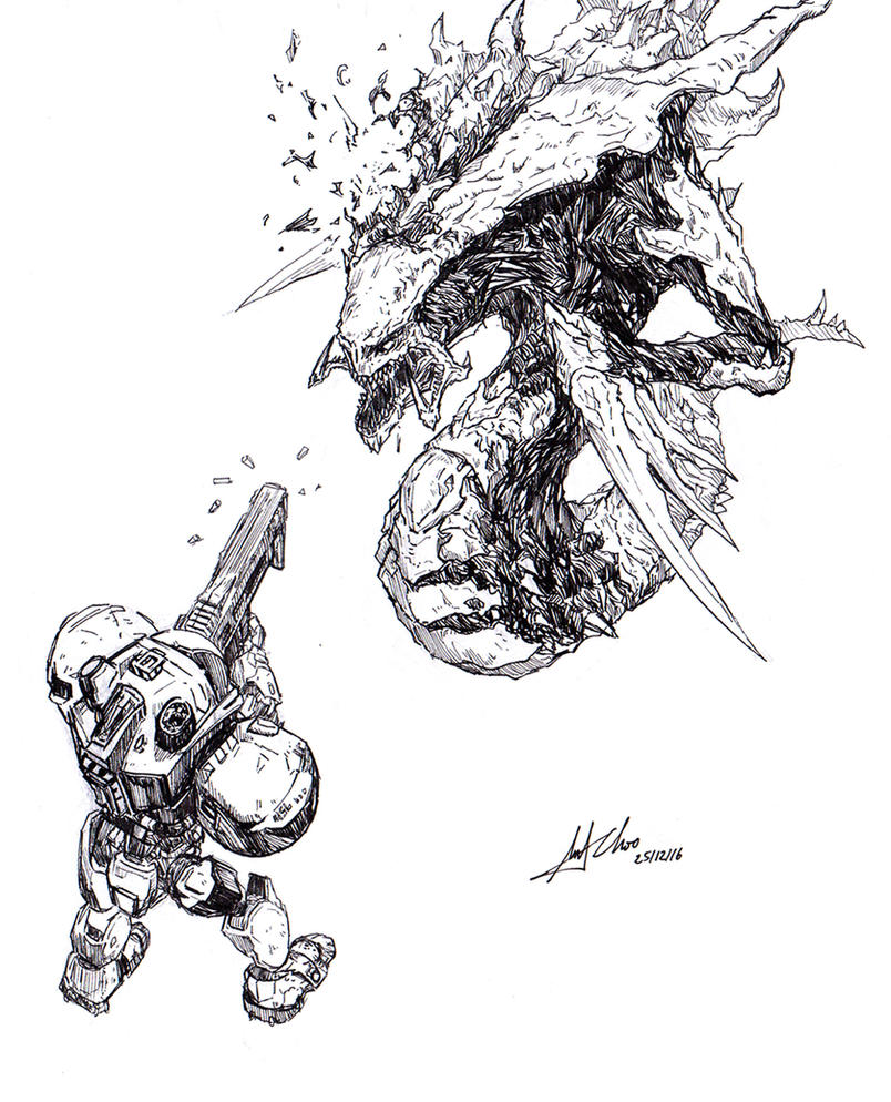 Starcraft 2 Marine VS Hydralisk Doodle by AndiMoo