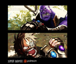 Marshall D Thanos VS Captain Luffy by AndiMoo