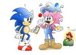 Sonic and Amy the Crazy Pizza Man