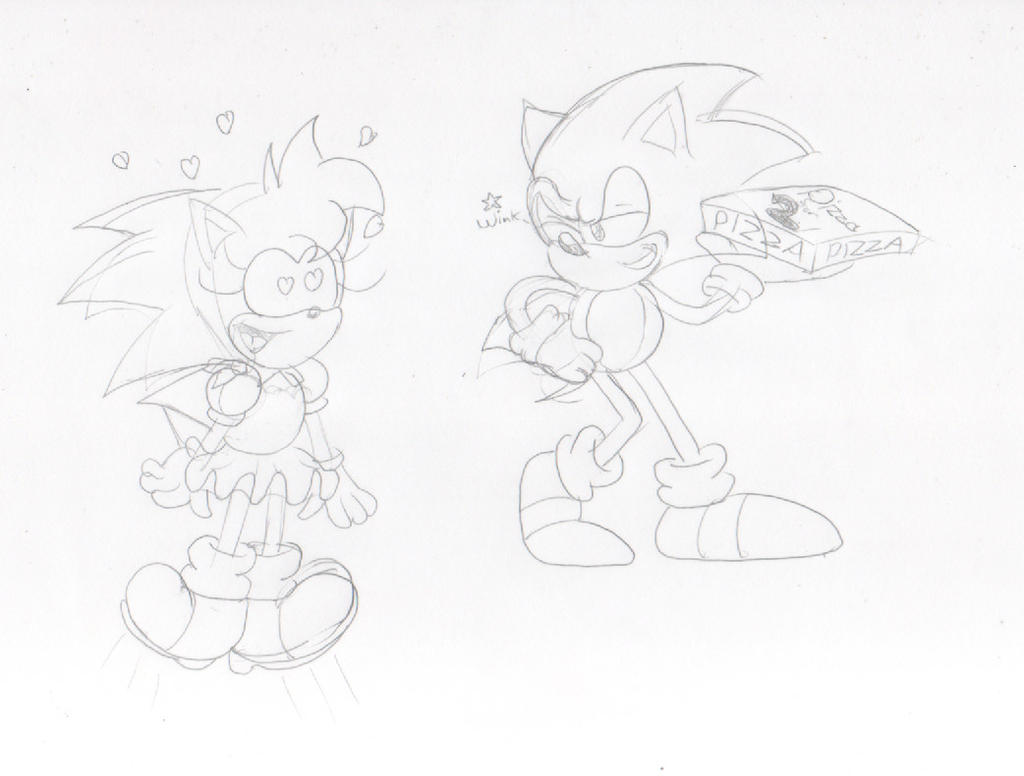 Amy's Dream Sonic The Pizzaman! sketch by ClassicSonicSatAm