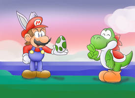 Happy Easter from Mario and Yoshi by ClassicSonicSatAm