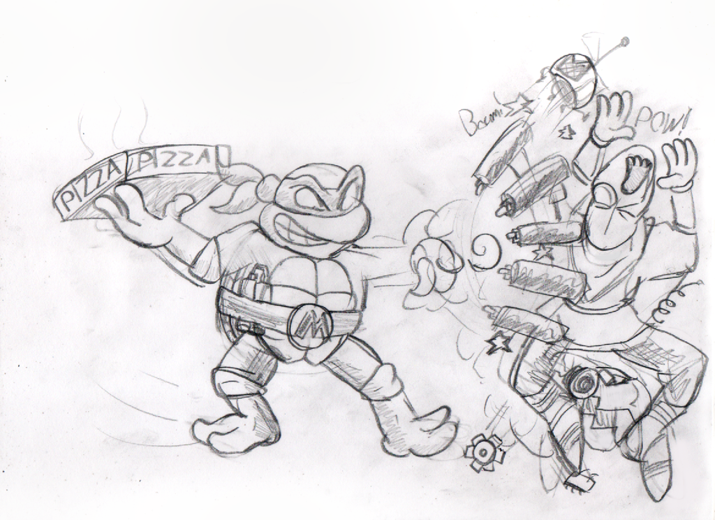 TMNT Michelangelo Sketch Pizza time! by ClassicSonicSatAm ...