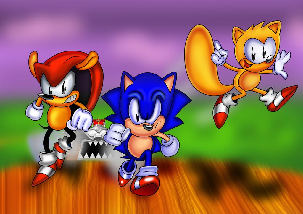 Sega Sonic Mighty and Ray by ClassicSonicSatAm