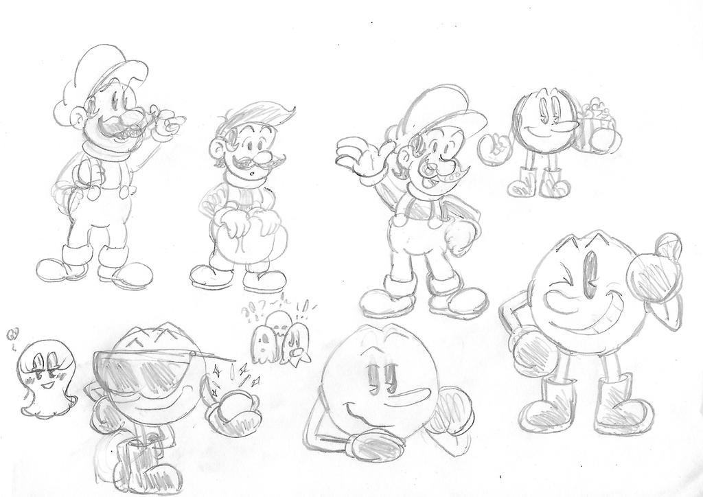 Mario and PacMan Sketchs by ClassicSonicSatAm