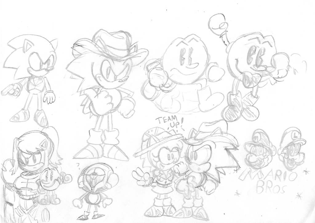 Sonic and Pals Sketchs by ClassicSonicSatAm