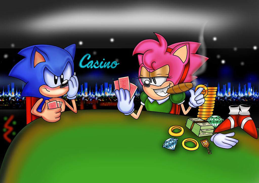 Sonic and Amy in Strip Poker by ClassicSonicSatAm on