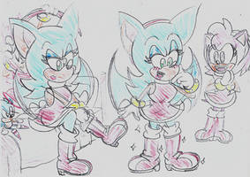 Sonic tries on Amy's boots