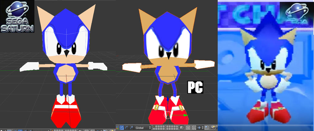 Sega Saturn Sonic models and the PC model   by ClassicSonicSatAm on