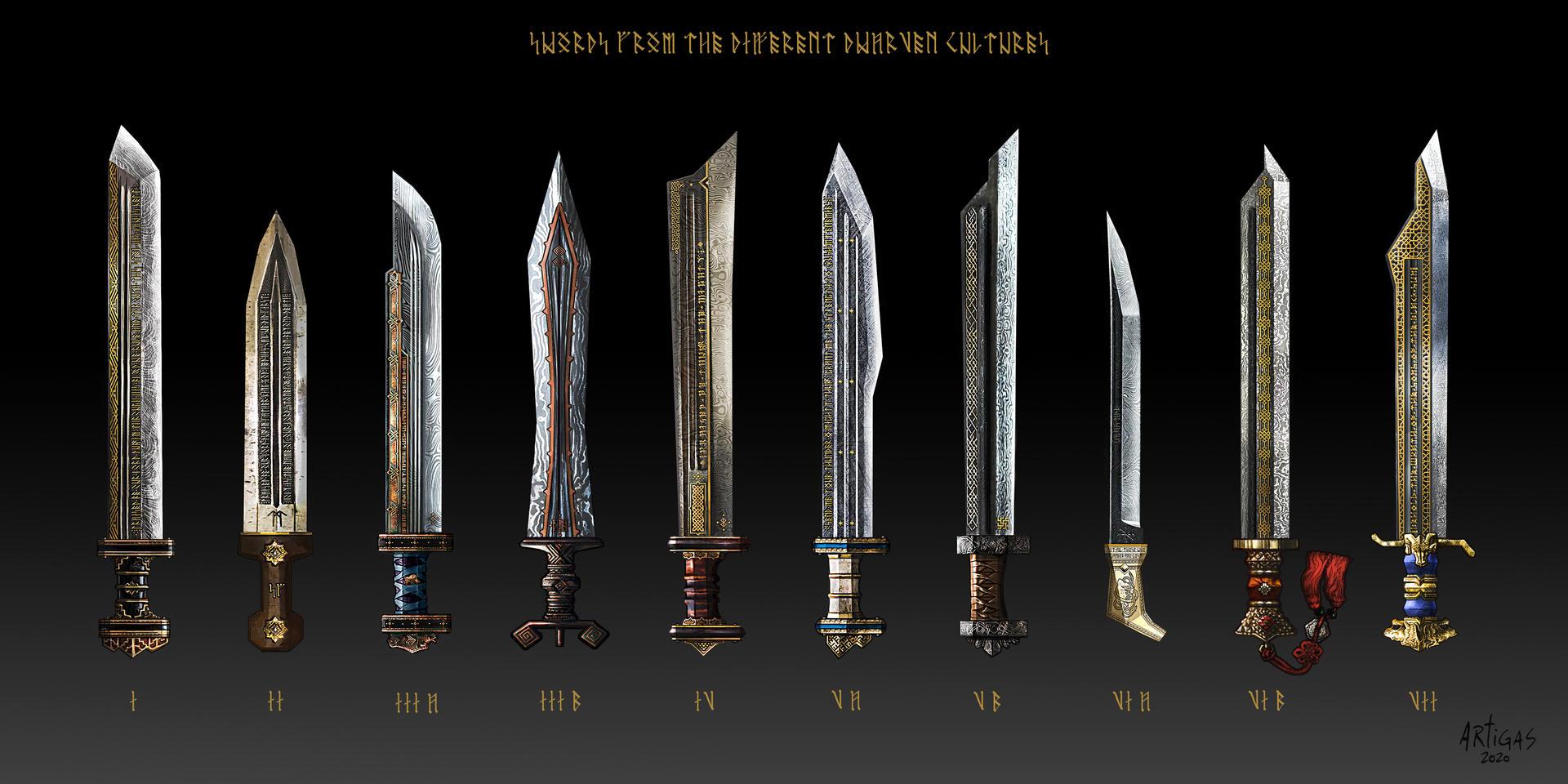 Swords of the various Dwarven cultures