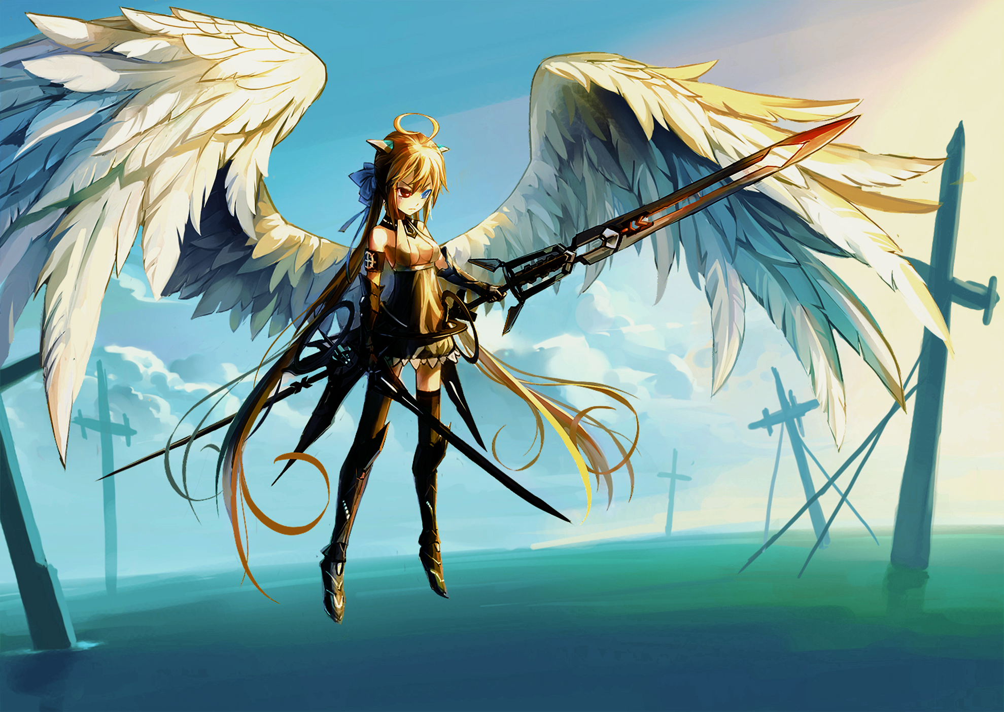 Backgrounds winged anime girl with swords by jch15jch15 - Girl with sword wallpaper ...