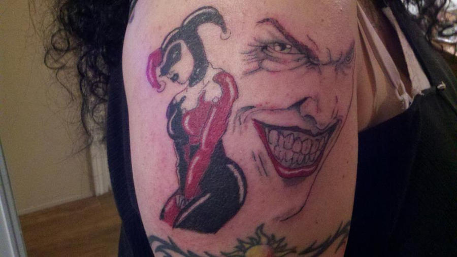 harley quinn joker tattoo by daddysweetstattoo on deviantart