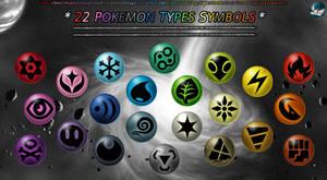 22 Pokemon type symbols by Maskadra42