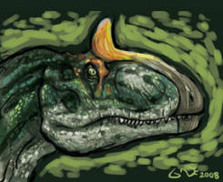 Cryolophosaurus by commander-salamander
