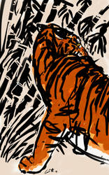 Tiger with Bamboo