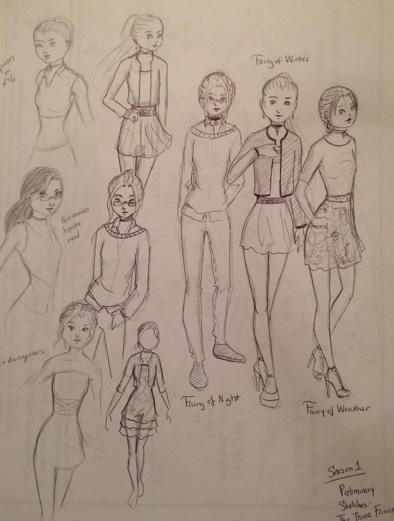 Reverse Winx Trix preliminary sketches by rothfyae