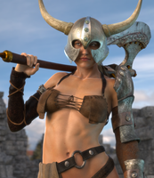 Girl With Helmet, An Axe and Insufficient Clothing by lyssophobe