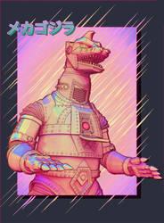 Mechagodzilla Retro Comic Pop Print by Digiwip