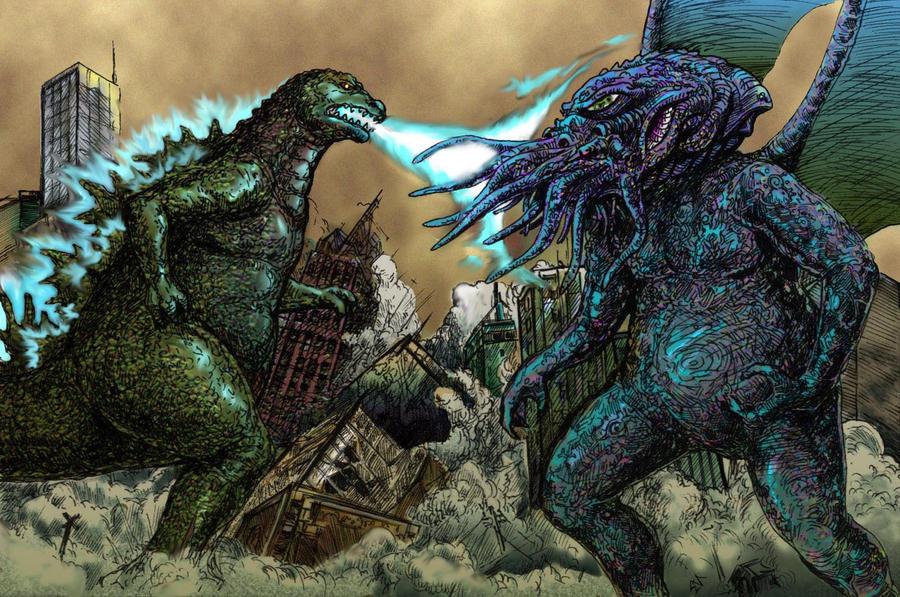 Azathoth Vs Cthulhu Godzilla vs  Cthulhu color by