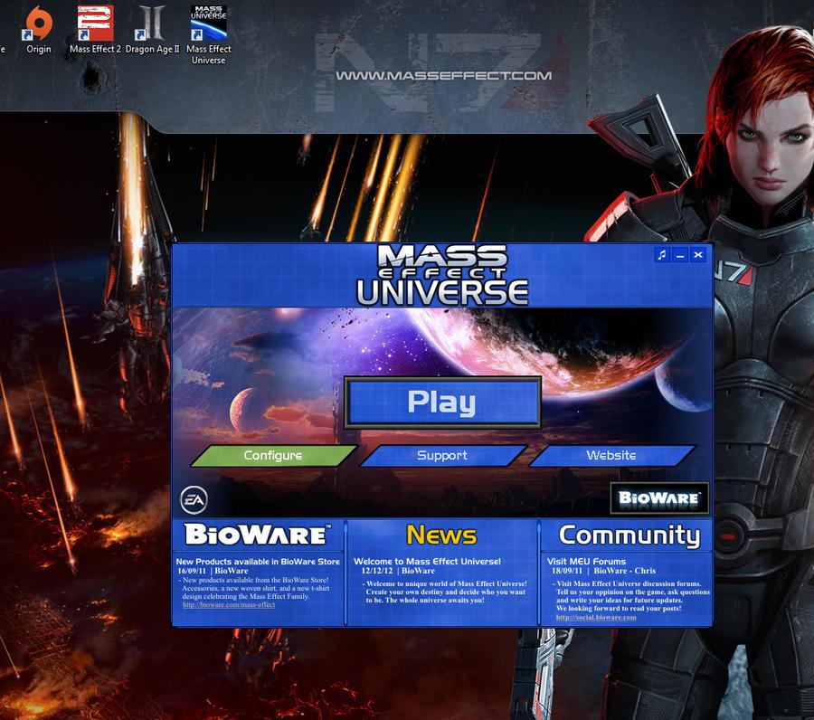 Экран входа Mass Effect: Universe.