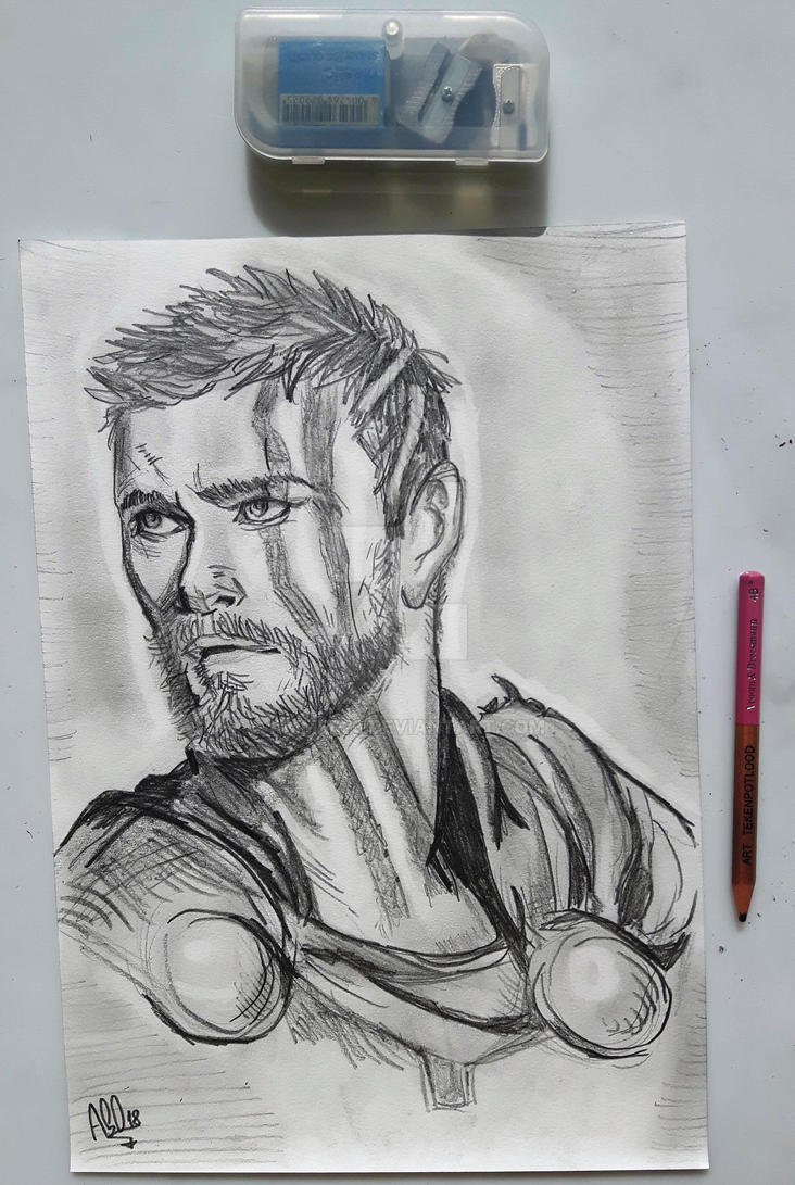 Thor as seen in ragnarok pencil drawing by ammer23 on deviantart