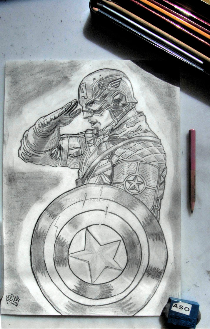Captain america salutes pencil drawing by ammer23