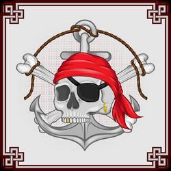 Calavera pirata con ancla