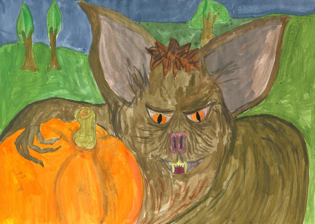 Bat with Pumpkin by JUJUsternchen