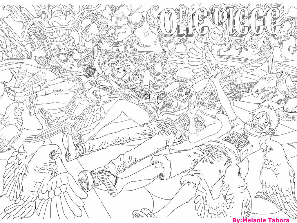 One Piece Lineart : One piece color spread lineart by kenshikazuma on deviantart