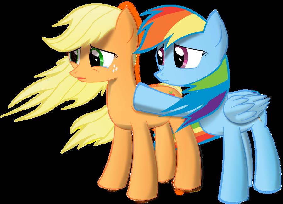 Applejack Rainbow Dash Sad by plasmagr3nade