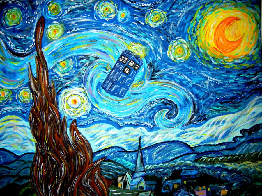 Van Gogh Starry Night Tardis Starry Night in The Tardis by