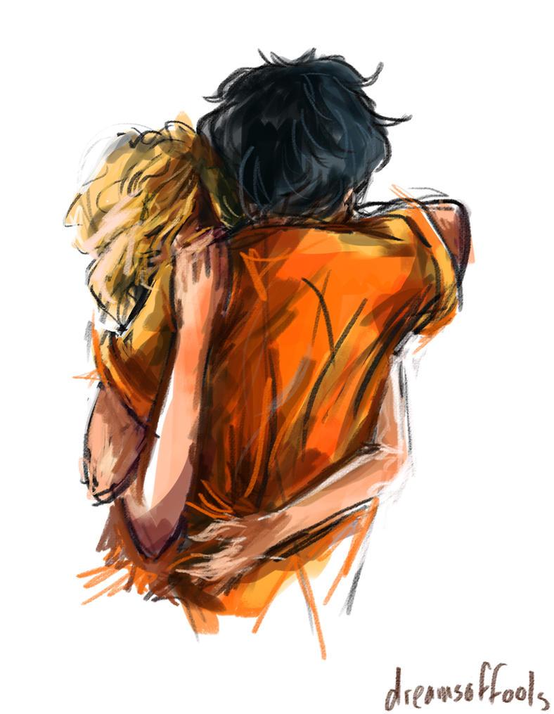 percabeth hug sketch by dreamsoffools on deviantart