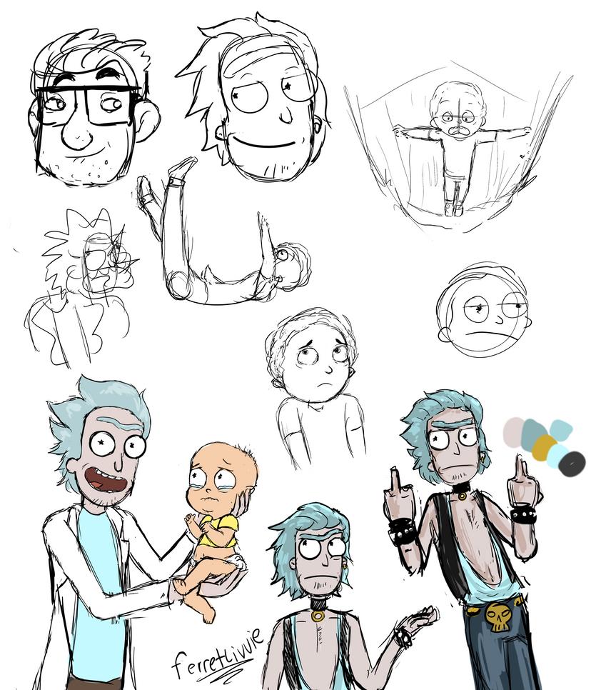 Rick and Morty Sketch Dump by ferretlivvie