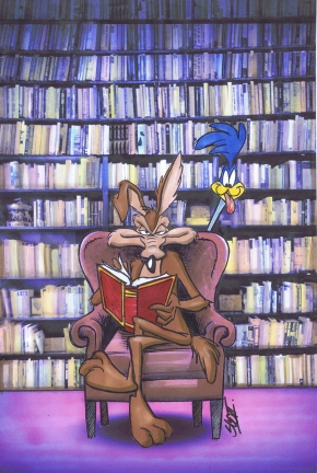 Wile E Coyote at the library by Bjnix248