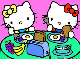 Hello Kitty and Mimmy having breakfast