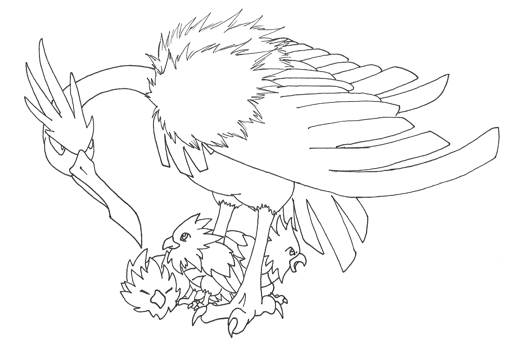 Fearow Coloring Page Coloring Pages